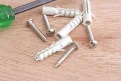 Schroeven en plastic anker Stock Foto