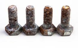 Schroeven oude roestige noot met schaal op wit in rij Royalty-vrije Stock Afbeelding