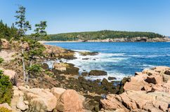 Schroffe Küste von Maine im Herbst Stockbilder