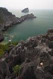 Schroffe Klippe auf Fallhammer-Insel im Halong Schacht Lizenzfreie Stockfotografie