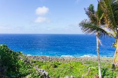 Schroffe und gezackte Küstenfunktion der Koralle entlang Togo Chasm-coas Stockfoto