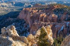 Schroffer Bryce Canyon Utah Winter Landscape Lizenzfreie Stockfotos