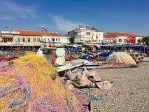 Schronienia i łodzi portowy widok stary Foca, Izmir Opłata foki unosi się w morzu miasteczko ugoda wymieniał Phokaia Fotografia Royalty Free