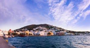 Schronienie Agia Marina, Leros wyspa, Grecja, w wieczór Obrazy Royalty Free