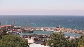 Schronienie i średniowieczny kasztel w Kyrenia mieście, Cypr, Sceniczny widok Kyrenia, Stary schronienie Mała zatoka dla statków, zbiory