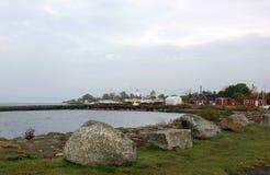 Schronienie i latarnia morska Smygehuk, Szwecja Fotografia Stock