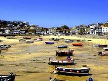 Schronienie & miasteczko, St.Ives, Cornwall, UK. Zdjęcie Stock
