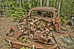 Schrootauto in het hout Stock Afbeelding
