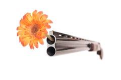 Schrotflinte mit einer Blume in seinem Fass Lizenzfreies Stockbild