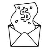 schrulliges Federzeichnungskarikaturdollar im Umschlag vektor abbildung