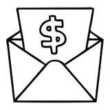 schrulliges Federzeichnungskarikaturdollar im Umschlag stock abbildung