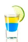 Schußcocktailansammlung: Blauer Tequila Stockfotografie