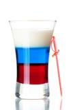Schußcocktailansammlung: Russische Markierungsfahne Stockbild