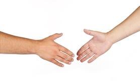 Schuddend handen van twee mannelijke geïsoleerdew mensen royalty-vrije stock afbeelding