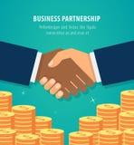Schuddende handen bedrijfsvector meer dan geldstapels Het pictogram van de succesovereenkomst royalty-vrije stock foto