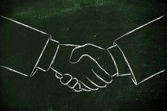 Schuddende handen, vennootschap en overeenkomsten Stock Afbeeldingen