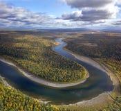 Schugor rzeka, Północni Urals Fotografia Stock
