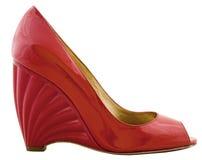 Schuh der netten roten Frau. Stockbild