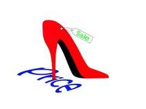 Schuh drückt Aufschriftpreis stock abbildung