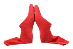 Schuh-Letzte mit roten Socken Lizenzfreie Stockfotos