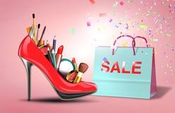Schuh mit Kosmetiksatz und Geschenktasche Stockfotografie