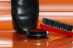 Schuh und Bürste Stockbilder