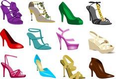 Schuhansammlung der Frauen Stockfotos