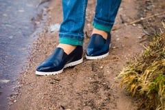 Schuhaufstellung der Schönheit Stockfoto