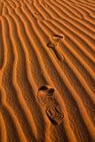 Schuhdruck in der Sahara-Wüste Lizenzfreie Stockbilder