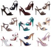 Schuhe der Frauen auf einem weißen Hintergrund. Lizenzfreie Stockfotografie
