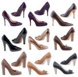 Schuhe der Frauen auf einem weißen Hintergrund. Stockfotografie