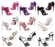 Schuhe der Frauen auf einem weißen Hintergrund. Stockfotos