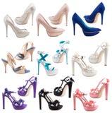 Schuhe der Frauen auf einem weißen Hintergrund. Stockfoto