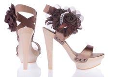 Schuhe der schönen Frauen, Sandelholze. Stockfotos
