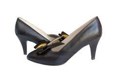Schuhe der schwarzen Frau. Lizenzfreies Stockfoto