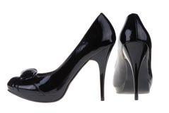 Schuhe der schwarzen Frauen Lizenzfreie Stockfotos