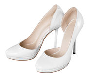 Schuhe der weißen Frauen Stockbilder