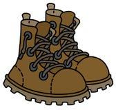 Schuhe des ledernen Schnürens im Freien Stockbild