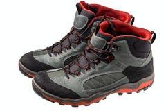 Schuhe für Trekking auf einem weißen Hintergrund Der Schuh wird von MA hergestellt lizenzfreies stockbild