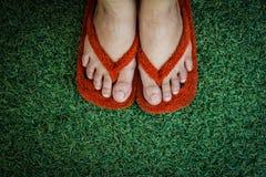 Schuhe im Gras Stockfoto