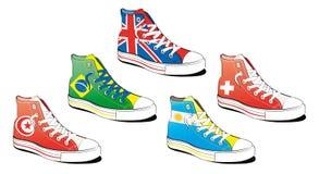 Schuhe mit Markierungsfahne Stockfoto