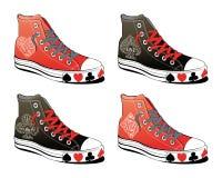 Schuhe mit Schürhakensymbol Lizenzfreie Stockfotos