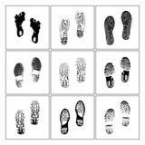 Schuhkennzeichen und Kennzeichenzeichnung des menschlichen Fußes von der Illustration vektor abbildung