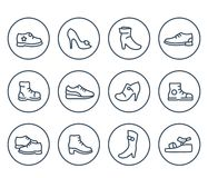 Schuhlinie Ikonen auf Weiß Stockfotos