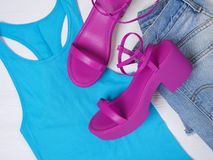 Schuhrosa der Frauen schnüren sich oben Plattformsandale Modeausstattung, Frühjahr-Sommer Kollektion Fahrwerkbeine und Frauenbeut lizenzfreies stockbild
