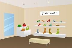 Schuhshop-Einkaufszentrenmallmoderne beige Innenillustration Stockbilder