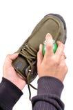 Schuhsorgfalt lizenzfreie stockfotos