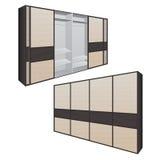 Schuifdeurgarderobe of kleedkamer, vestiaires, winkel met een houten textuur in vectorgrafiek Stock Foto's
