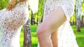 Schuine stand van sensuele vrouwelijke dansers in glamourkostuums in openlucht wordt geschoten met lensgloed die stock videobeelden