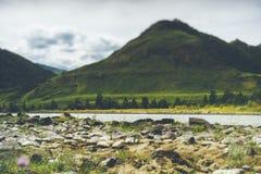 Schuine stand-verschuiving mening van van Katun de rivier en van Altay bergen stock foto's
